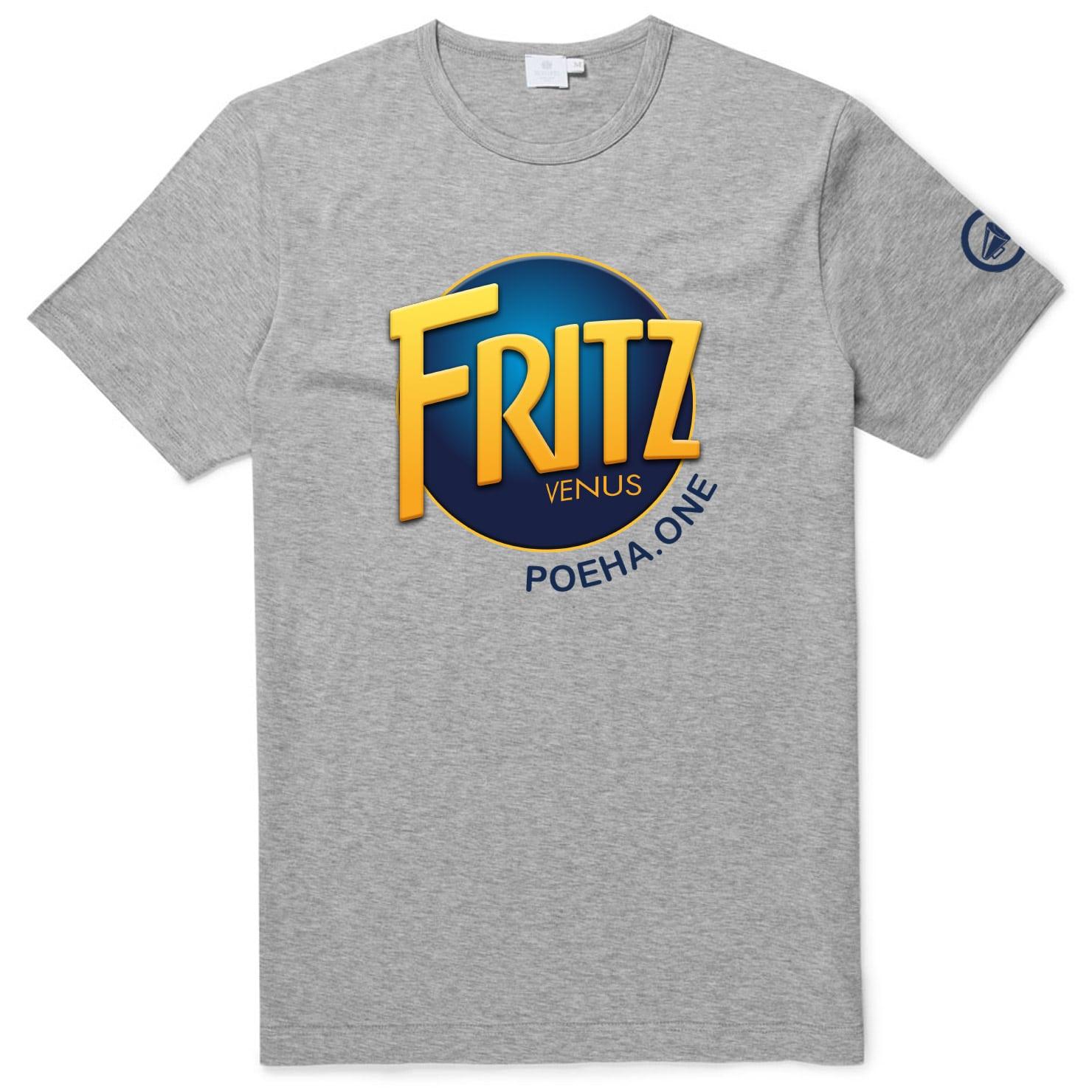 Op dit shirt zie je het logo van Fritz Venus, de man achter Poeha.