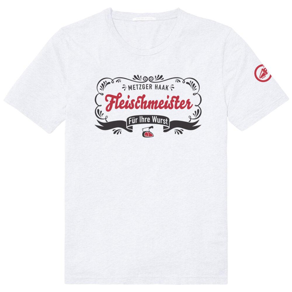 wit tshirt met zwarte opdruk en rode letters die je zeggen Fleischmeister; voor je worst!
